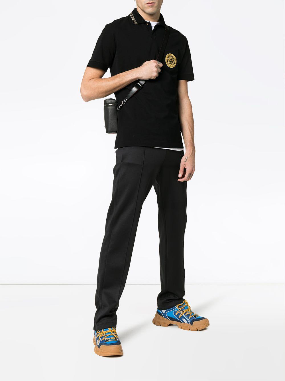bcca35c8 Lyst - Versace Medusa Embroidered Cotton Polo Shirt in Black for Men - Save  20%