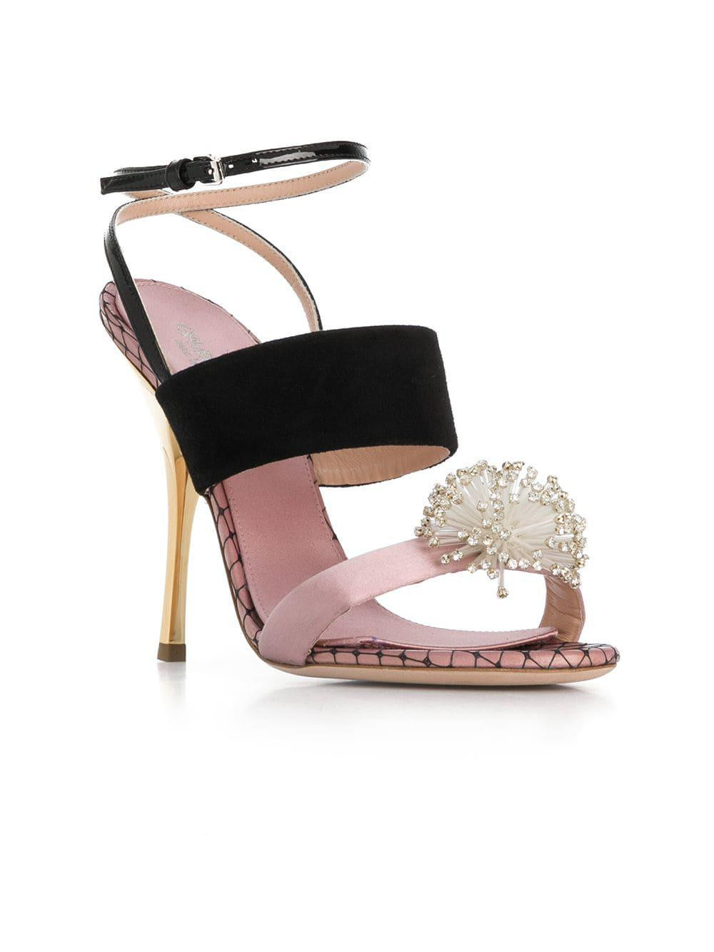 39b538392518 Lyst - Giambattista Valli Crystal Embellished Sandals in Pink - Save  0.750938673341679%