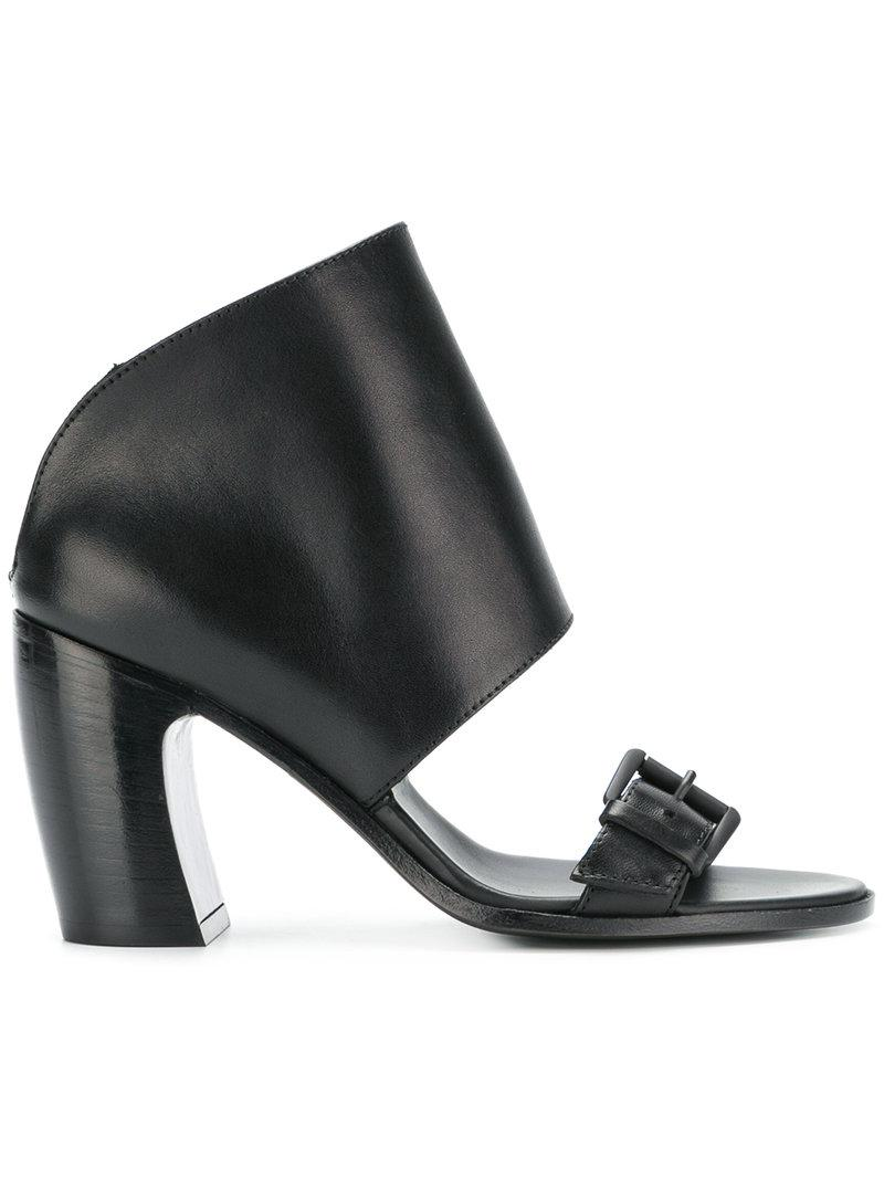df4071e4675 Lyst - Ann Demeulemeester Blanche Covered Mid-heel Sandals in Black