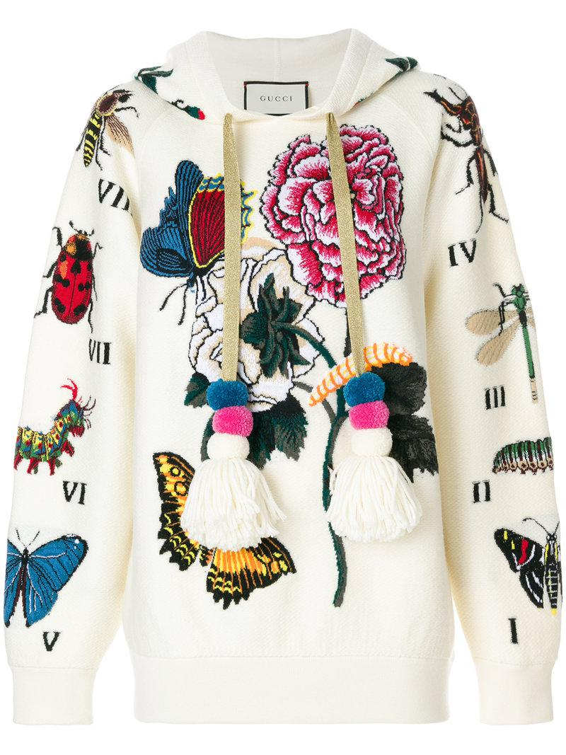 57877727a00 Lyst - Gucci Embroidered Oversized Hoodie in White