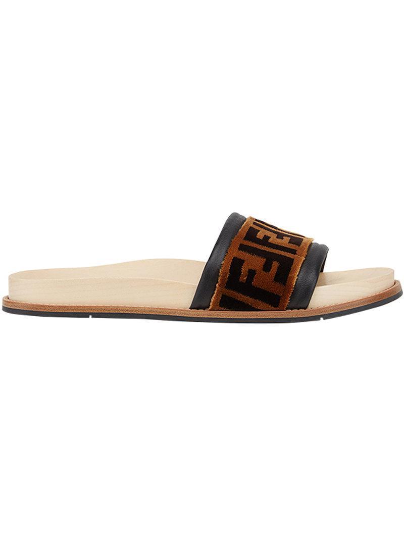 b9707c9ff Lyst - Fendi Logo Strap Slides in Brown for Men - Save 60%