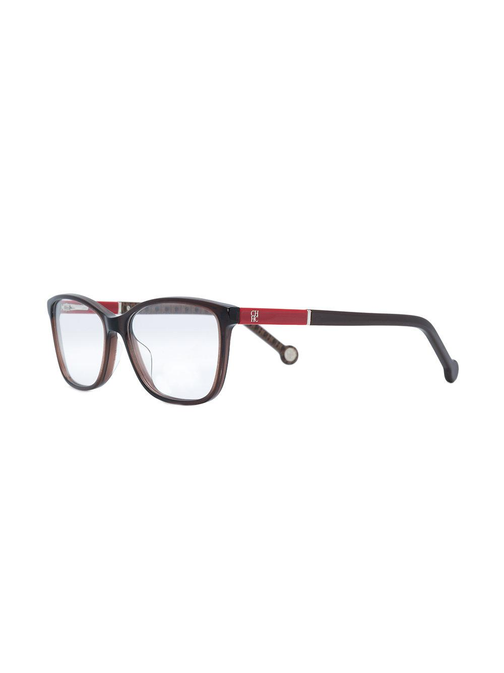 d8502135c4 CH by Carolina Herrera Rectangular Shape Glasses in Brown - Lyst