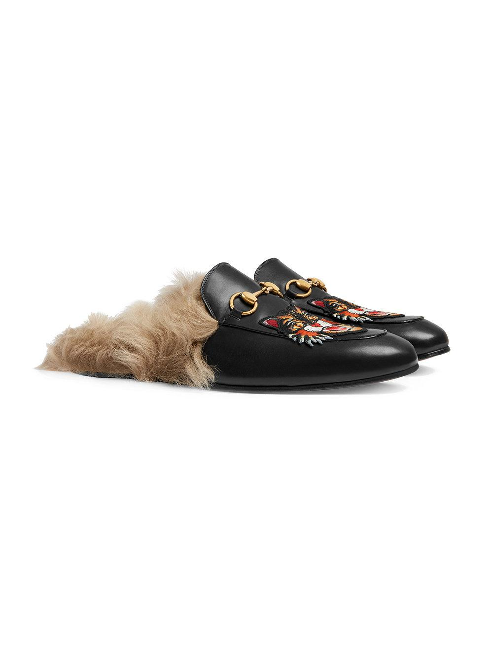 cbe24725e86 Lyst - Gucci Princetown Slippers With Angry Cat Appliqué in Black for Men - Save  36%