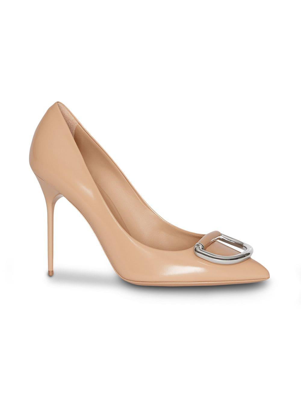 240538dd27fe Lyst - Burberry The Patent Leather D-ring Stiletto in Metallic
