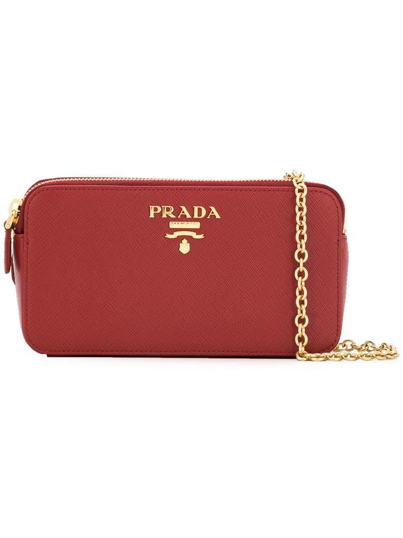 9775b55902 Prada - Red Logo Plaque Clutch Bag - Lyst. View fullscreen