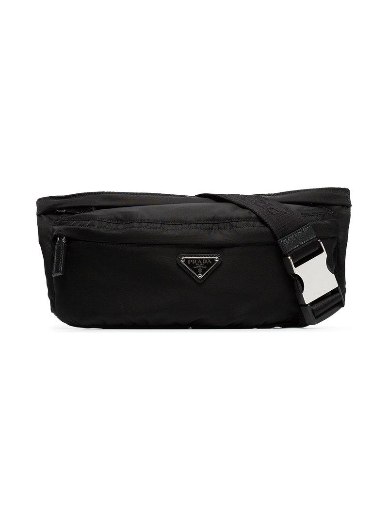 56277abcaa04 Prada - Black Logo Crossbody Belt Bag for Men - Lyst. View fullscreen
