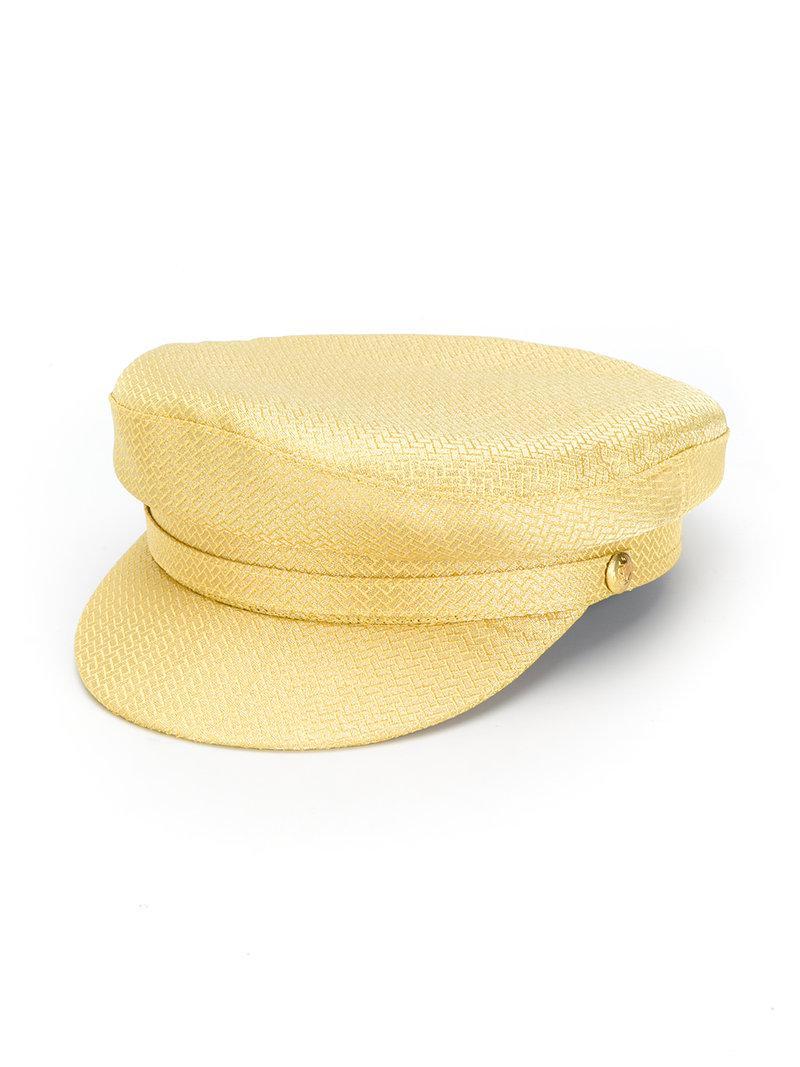 Manokhi. Men's Yellow Metallic Baker Boy Hat