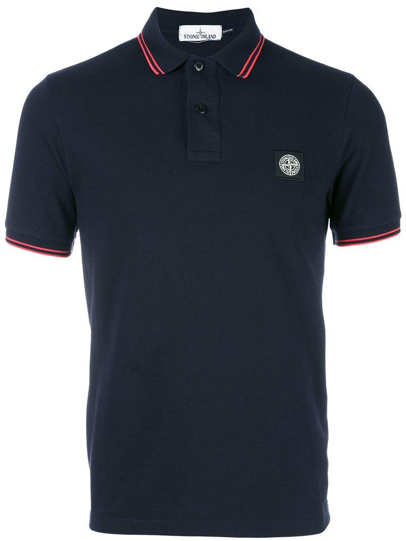 Lyst stone island logo patch polo shirt in blue for men for Polo shirts with logos
