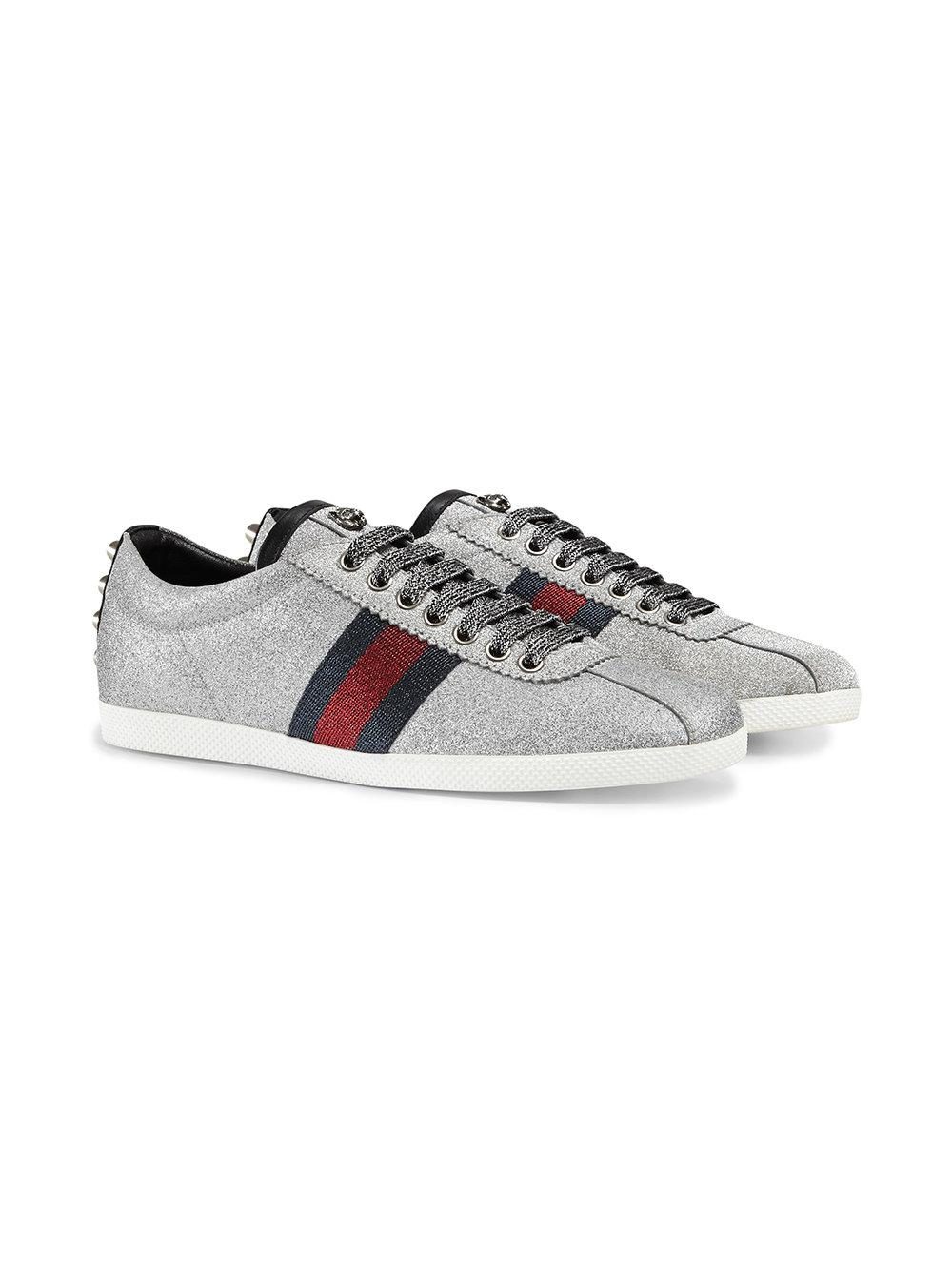 ee1c78e52ab Gucci - Gray Glitter Web Sneakers With Studs - Lyst. View fullscreen