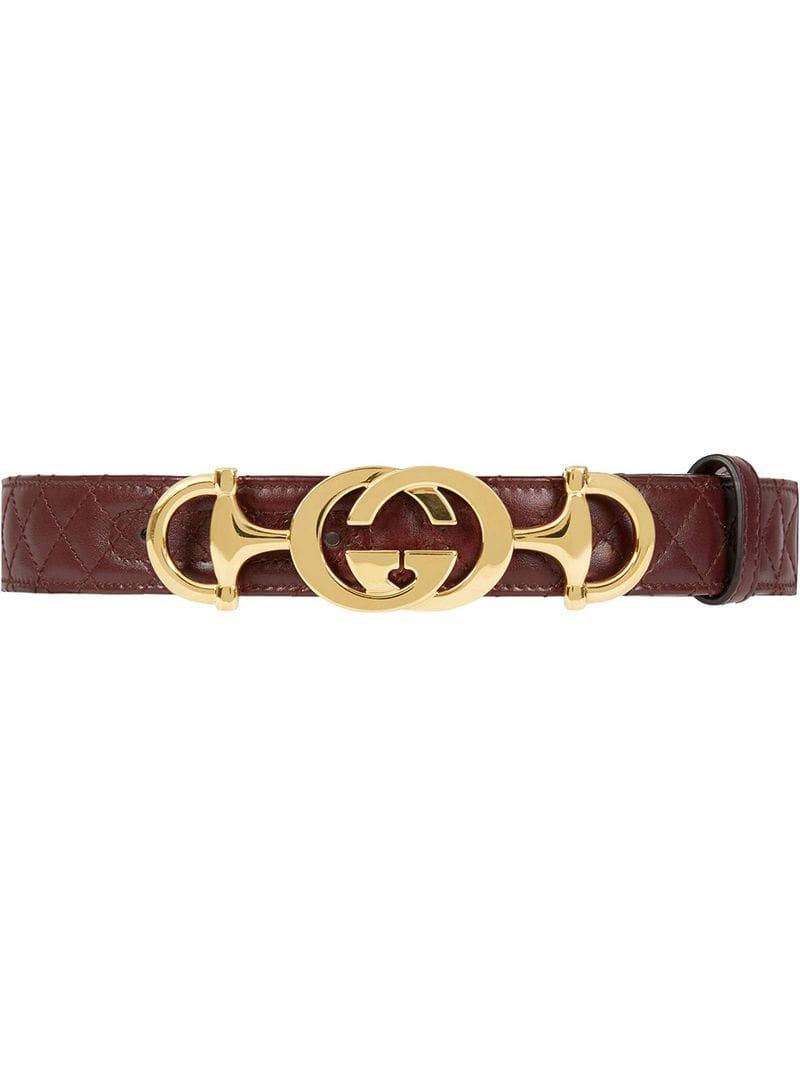 2e844d19ef0d Gucci Leather Belt With Interlocking G Horsebit in Red - Lyst