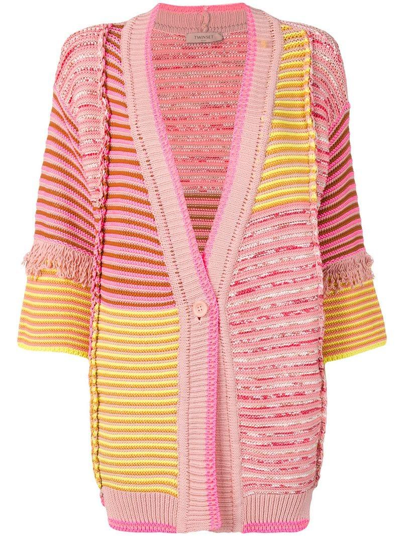 34cba31d330cbc Twin Set Patchwork Knit Fringed Cardigan in Pink - Lyst