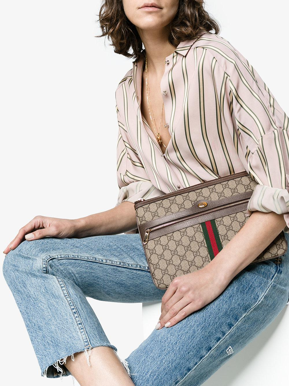 c21b5fafede204 Gucci Brown Ophidia GG Supreme Leather Pouch in Brown - Lyst