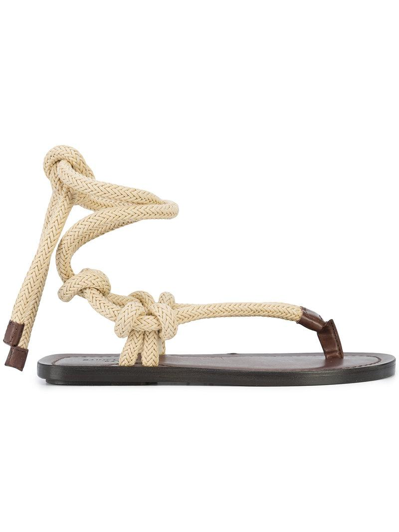 T-strap tie up sandals - Brown Saint Laurent Lkr7eLnr