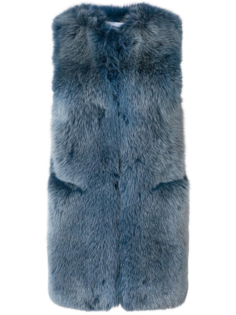 fox fur gilet - Blue Sonia Rykiel Cheap Sale Great Deals Pre Order 4HwVk