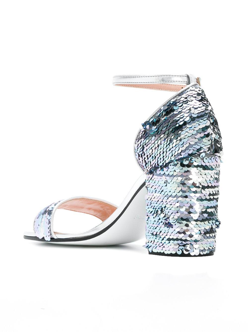 sequin chunky heel sandals - Metallic Pollini BTuqXmUPV