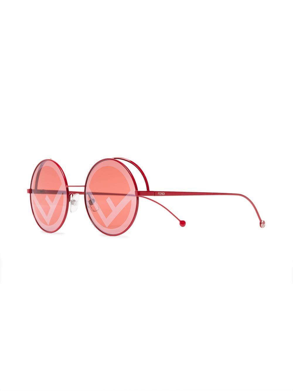 edb29b0257 Fendi - Red Logo Lens Round Sunglasses - Lyst. View fullscreen