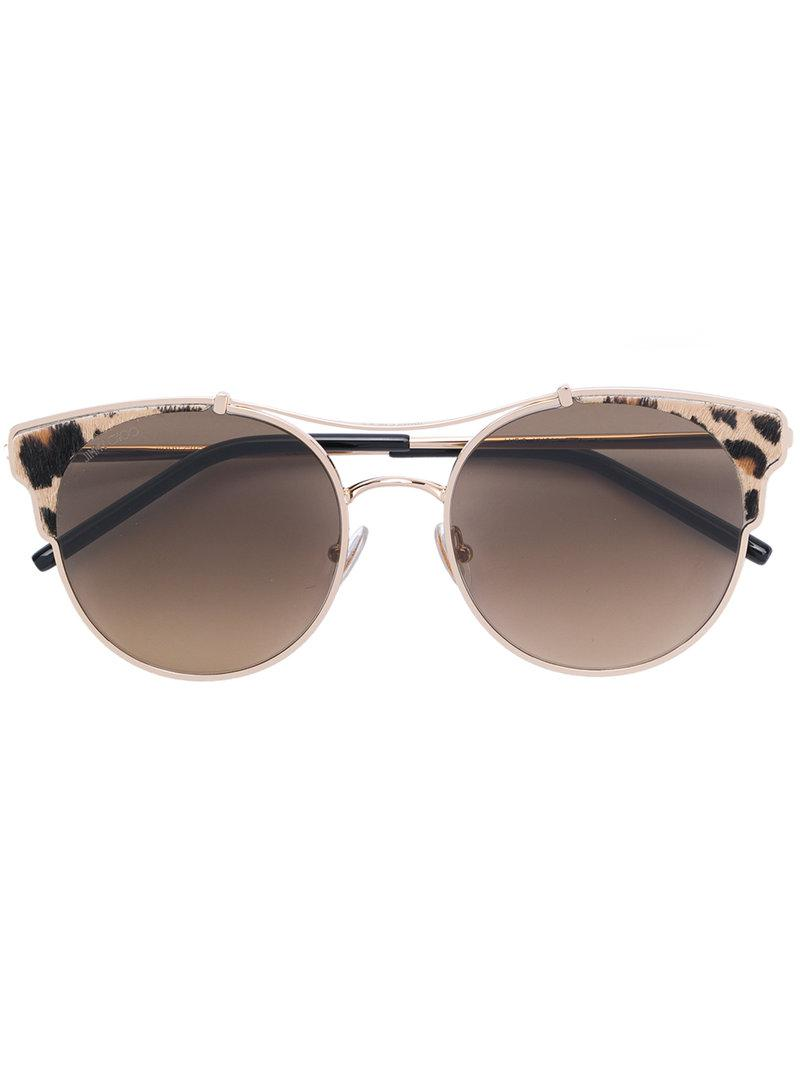 3fc80667a959 Jimmy Choo Leopard Print Round Frame Sunglasses in Brown - Lyst