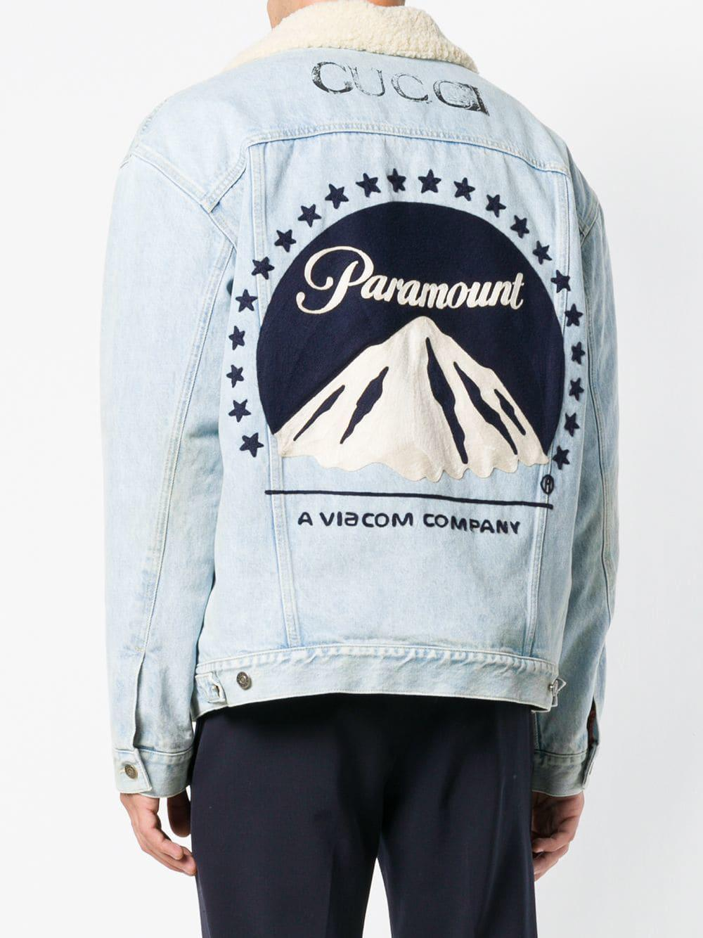 d029730f7 Gucci Paramount Print Denim Jacket in Blue for Men - Lyst
