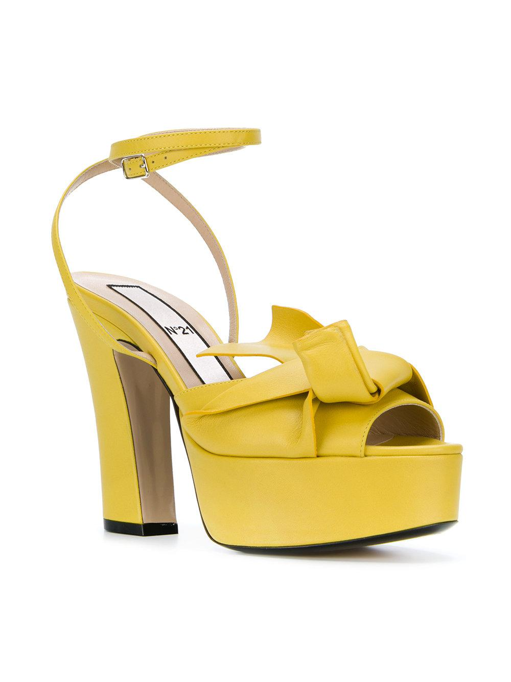 abstract bow platform sandals - Yellow & Orange N crDaC