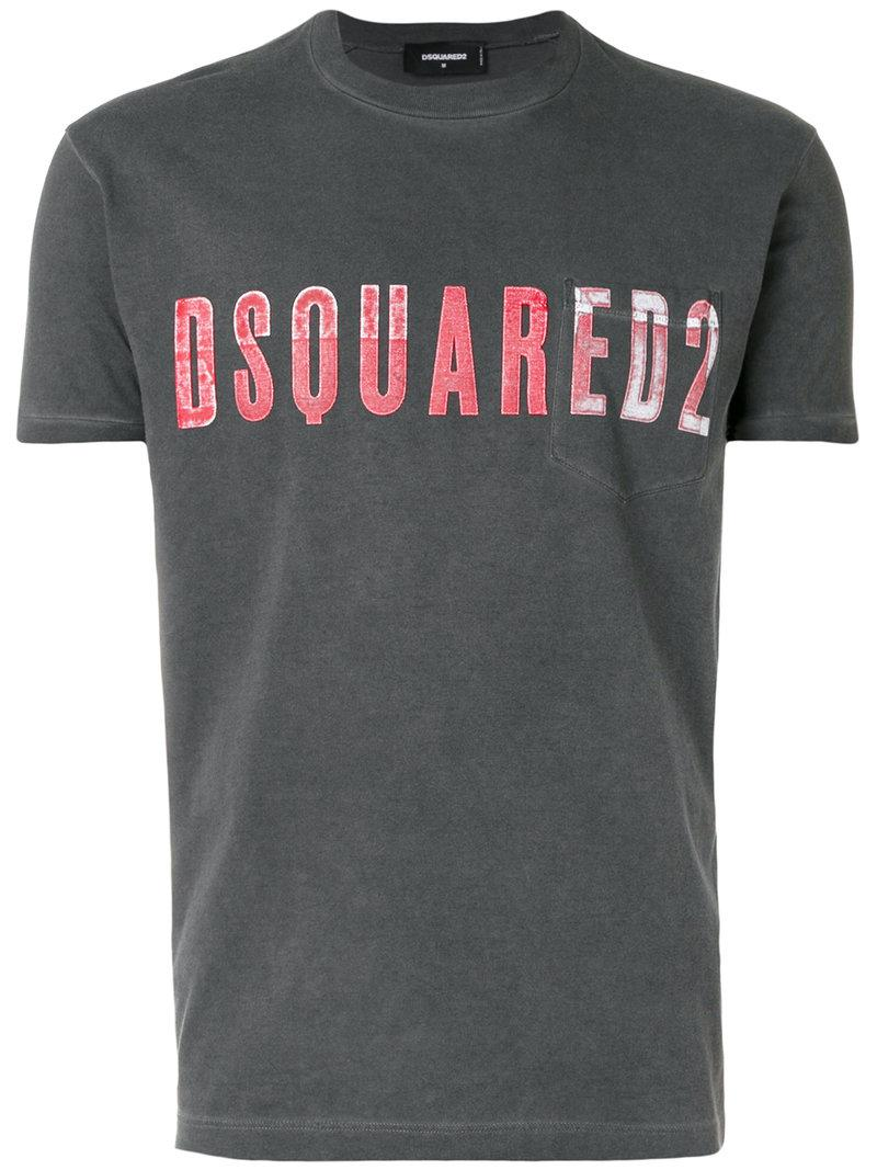 Lyst dsquared vintage embroidered logo t shirt in gray for T shirt with embroidered logo