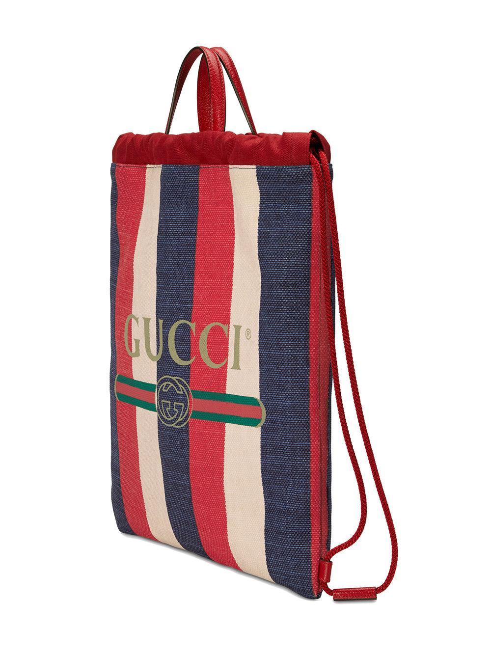 f5d1126872a Gucci - Red Print Medium Drawstring Backpack for Men - Lyst. View fullscreen