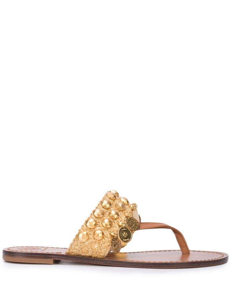 a1ea163d0 Lyst - Tory Burch Patos Coin Thong Sandals in Brown