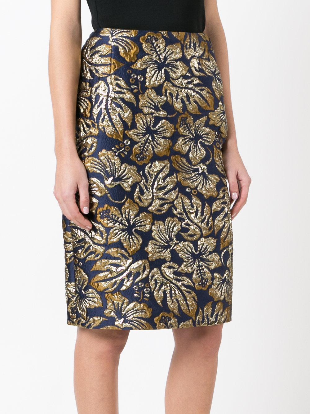 77357fdde Prada Brocade Midi Skirt in Blue - Lyst