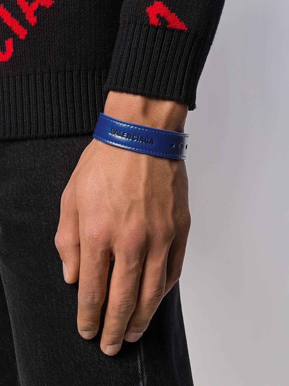 f282efdf416b6 Balenciaga - Blue Logo Bracelet for Men - Lyst. View fullscreen