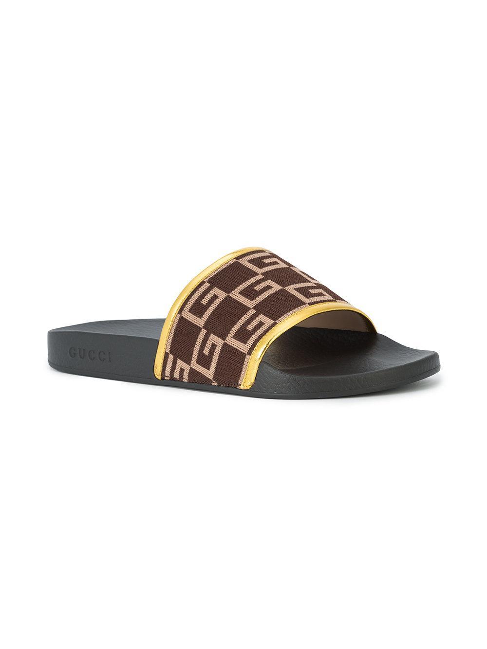 1c5ef6b0e14 Lyst - Gucci G Print Shower Slides in Black for Men
