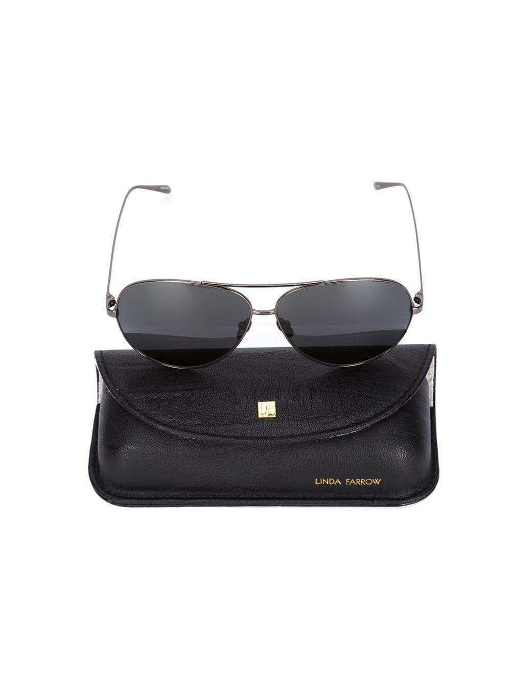 62f80d5b6935 Linda Farrow Aviator Sunglasses in Gray - Lyst