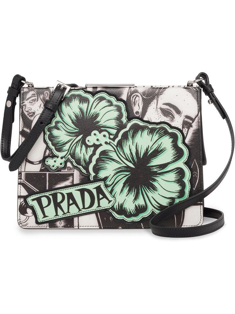 a55c646cbcac Lyst - Prada Comic Print Shoulder Bag in Gray