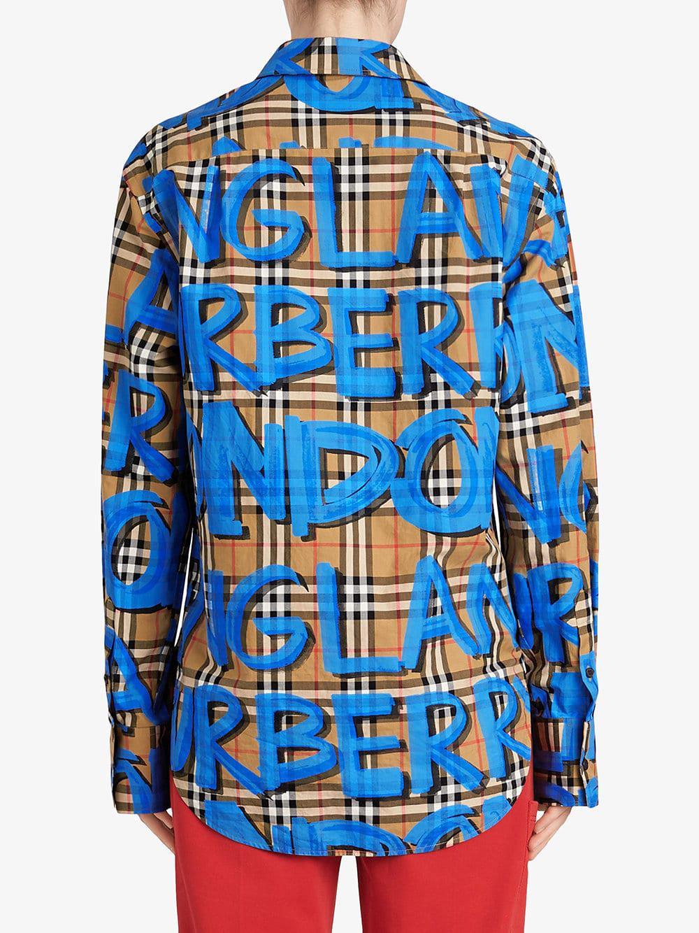 b529dce307e8 Lyst - Burberry Graffiti-print Check Shirt in Blue