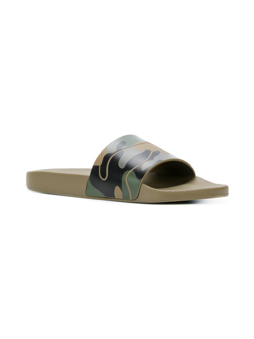 20beeab25664 Lyst - Valentino Green Camouflage Pool Slides in Green for Men - Save  50.22831050228311%