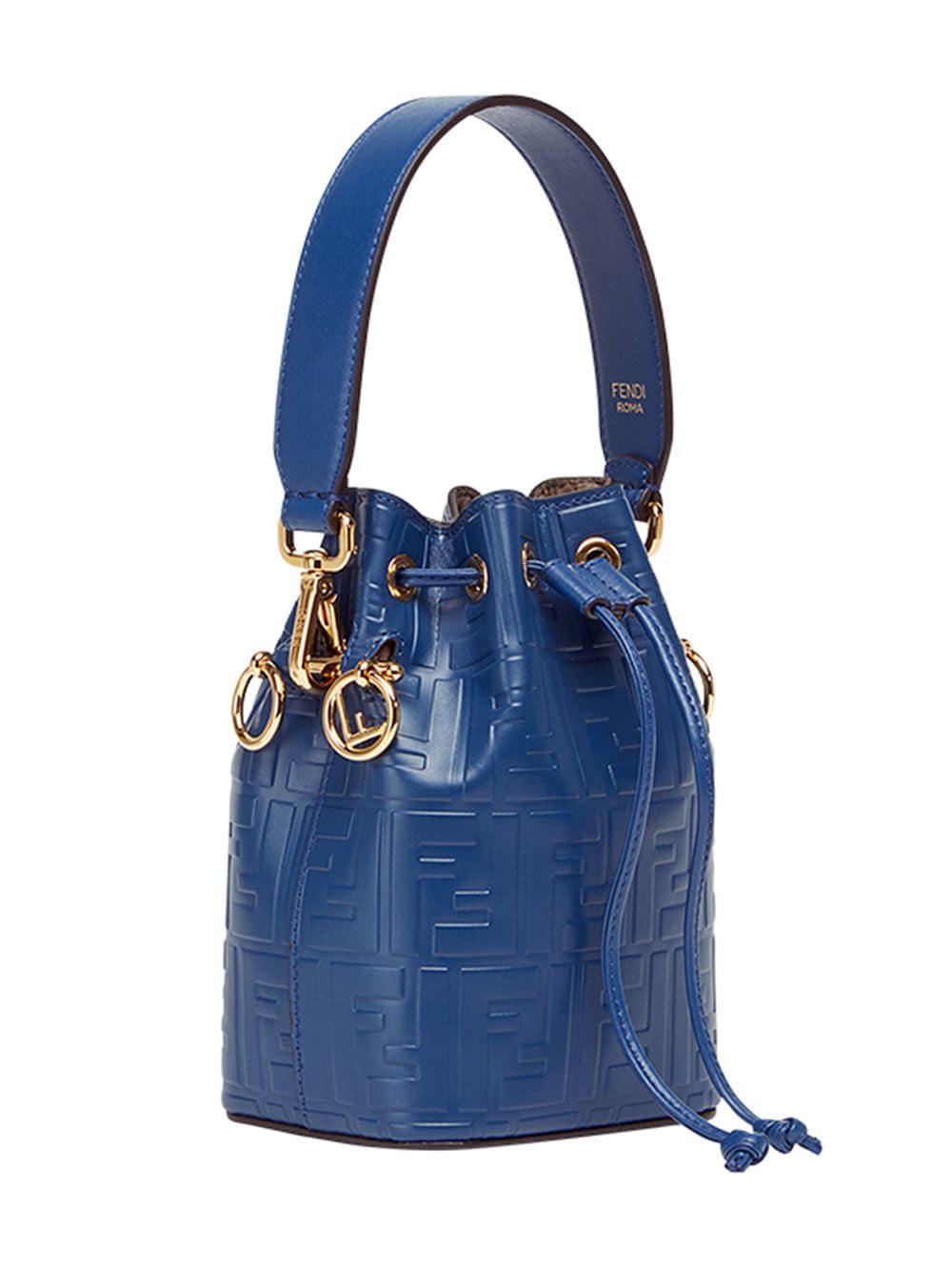 d428c3430000 Lyst - Fendi Mini Mon Tresor Embossed Bucket Bag in Blue - Save 6%
