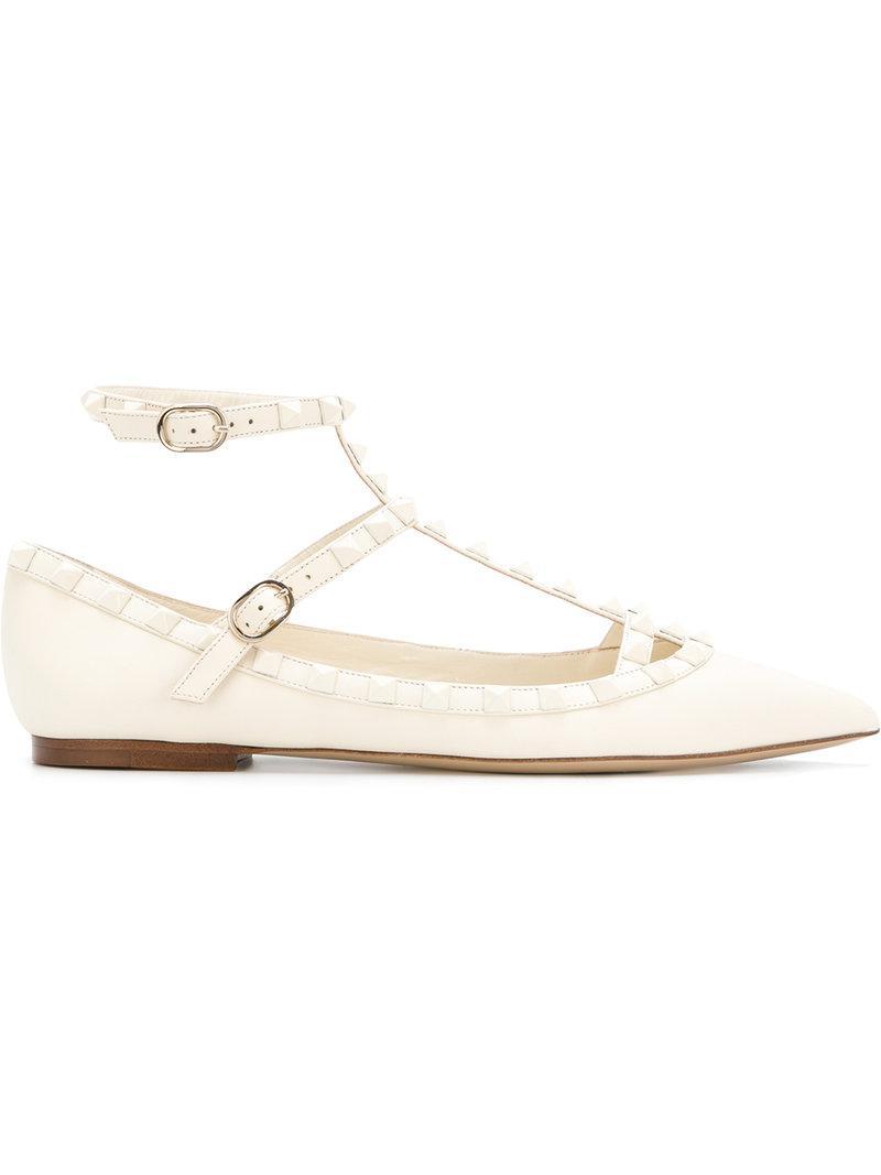 28e7b6076d2a Lyst - Valentino Rockstud Ballerina Flats in White