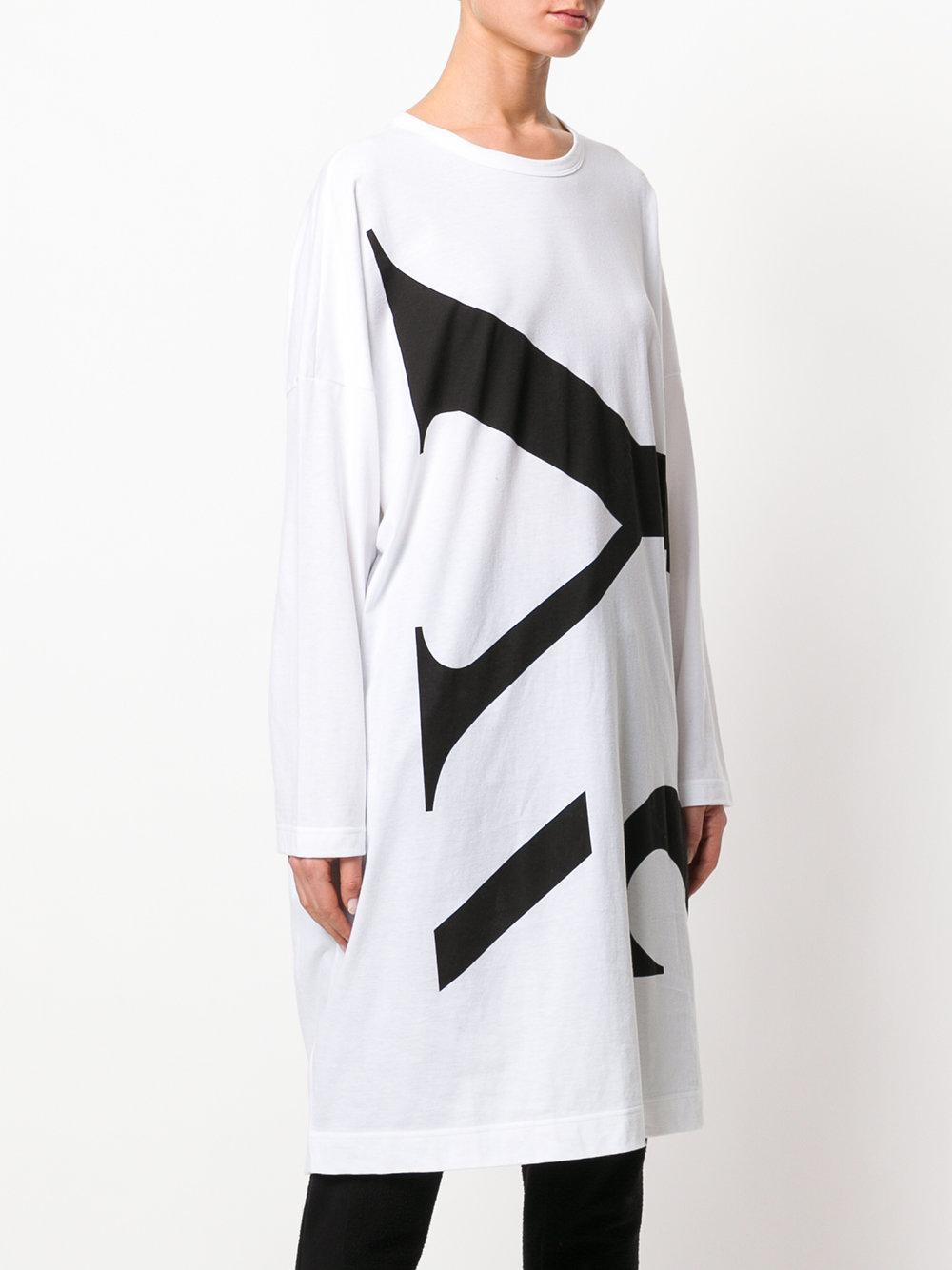 logo print long-sleeved dress - White Yohji Yamamoto mH893