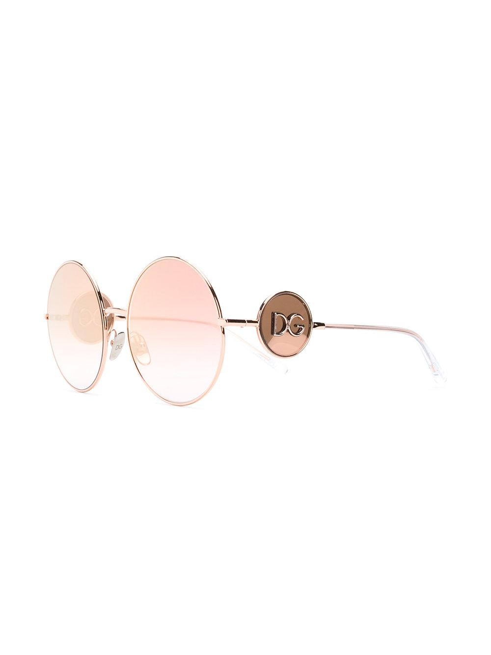b818c26f0cc Dolce   Gabbana Round Shaped Sunglasses in Metallic - Lyst
