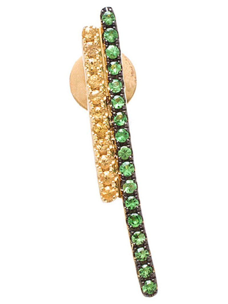 Asherali Knopfer tsavorite and sapphire bar earring - Yellow & Orange 3mD9EhrTFM