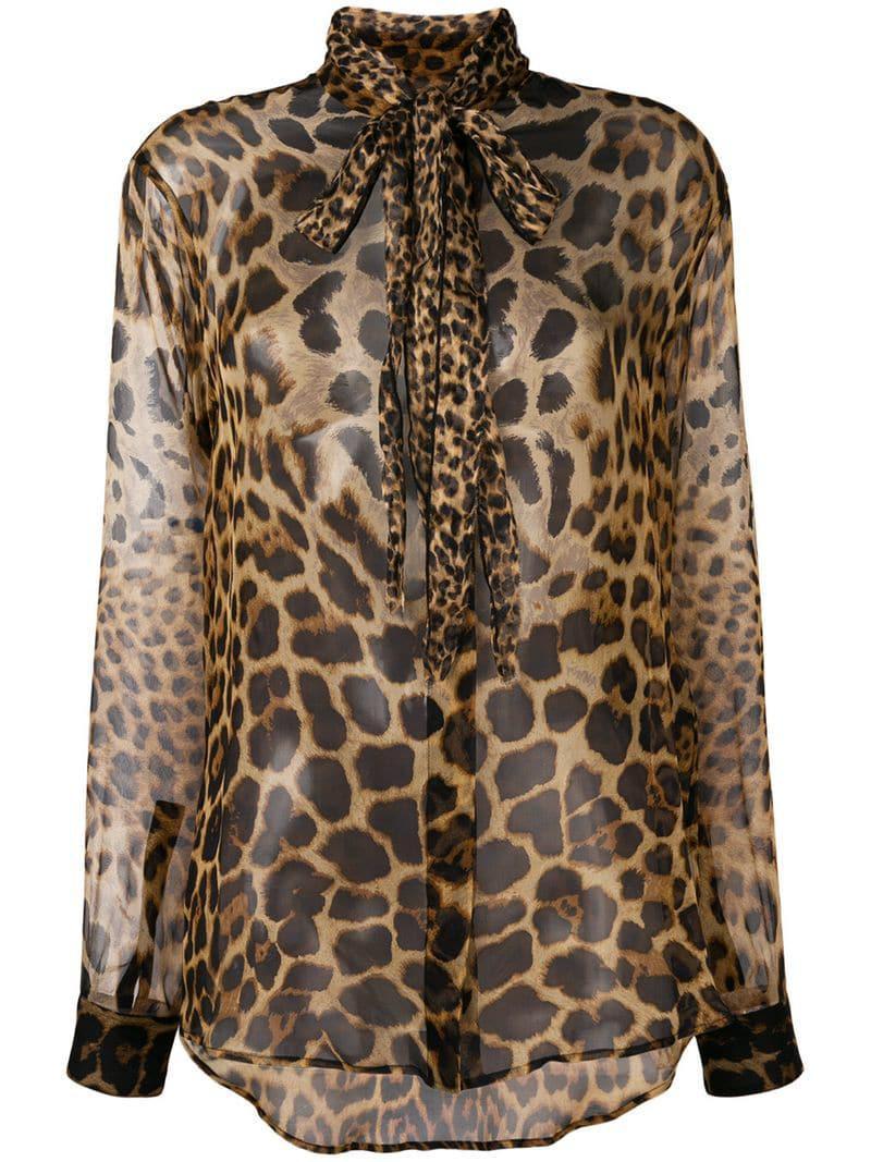 6b6aa7e0 Lyst - Saint Laurent Leopard-print Shirt in Brown