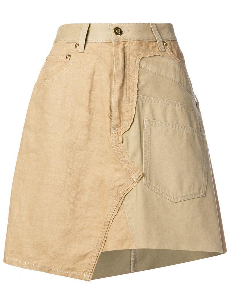 11c61f00710 Loewe Asymmetric A-line Skirt in Brown - Lyst