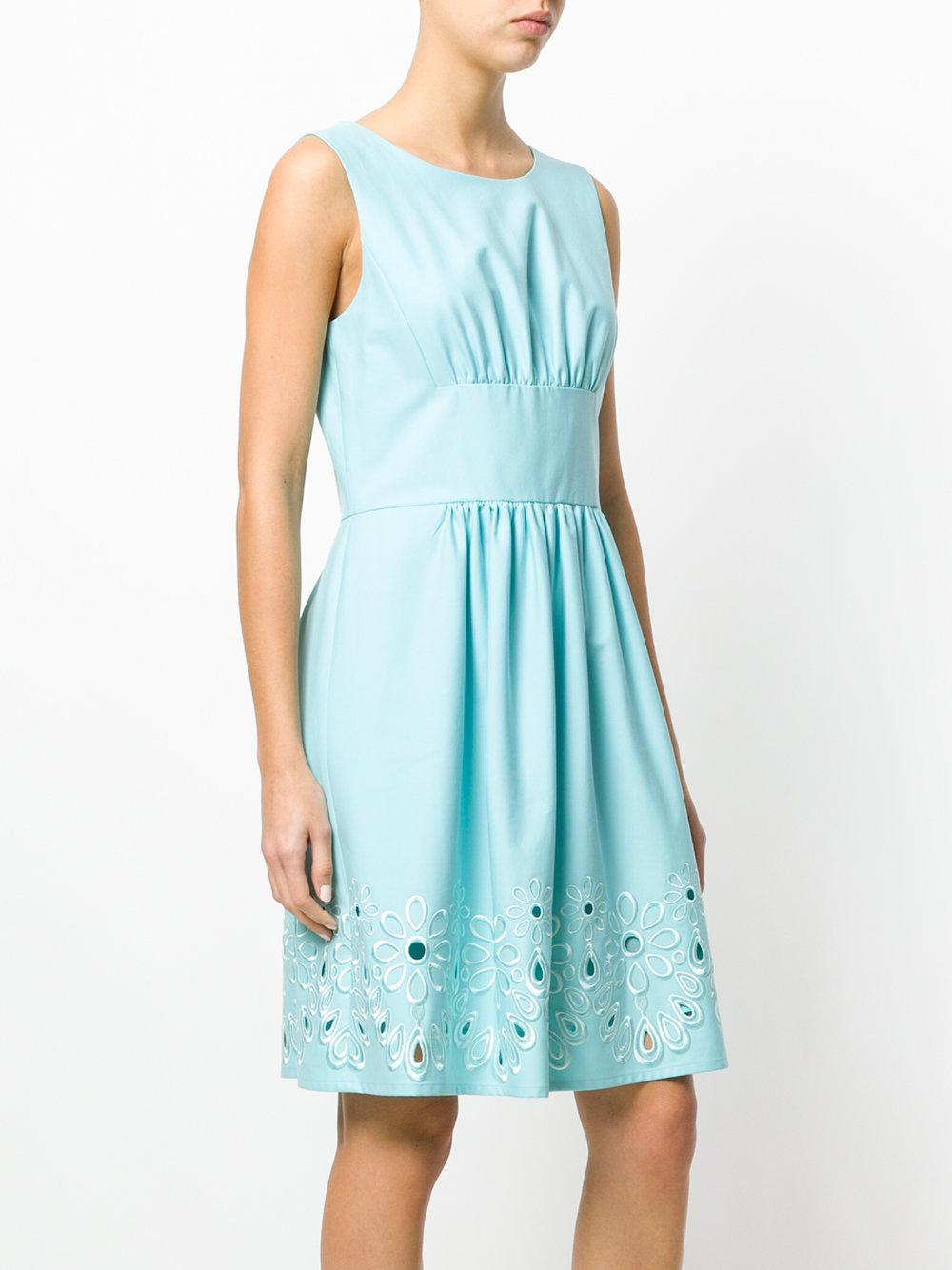 Lyst boutique moschino floral embroidered dress in blue