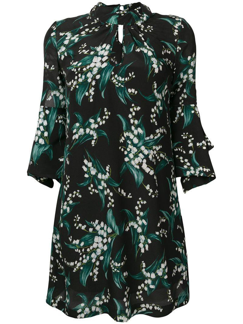 Erika Cavallini Semi Couture Floral Print Dress in Black - Lyst 225feedc5