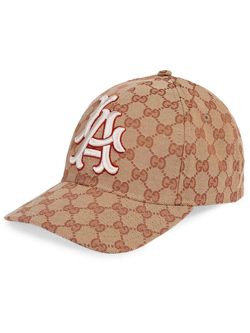 181099a8f71 Gucci Baseball Hat With La Angelstm Patch in Brown - Lyst