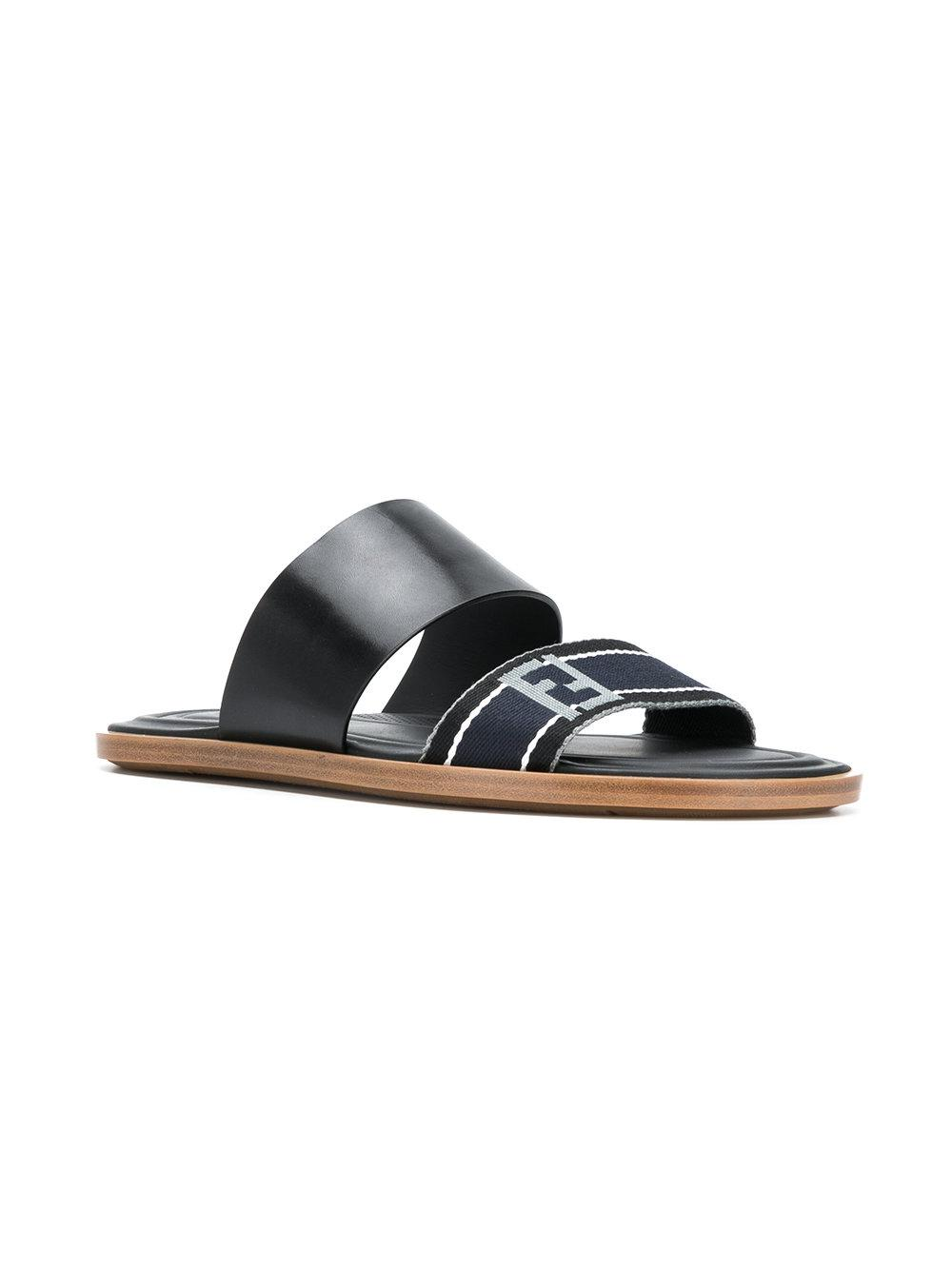 cabf26d2248bea Lyst - Fendi Double Strap Sandals in Black for Men