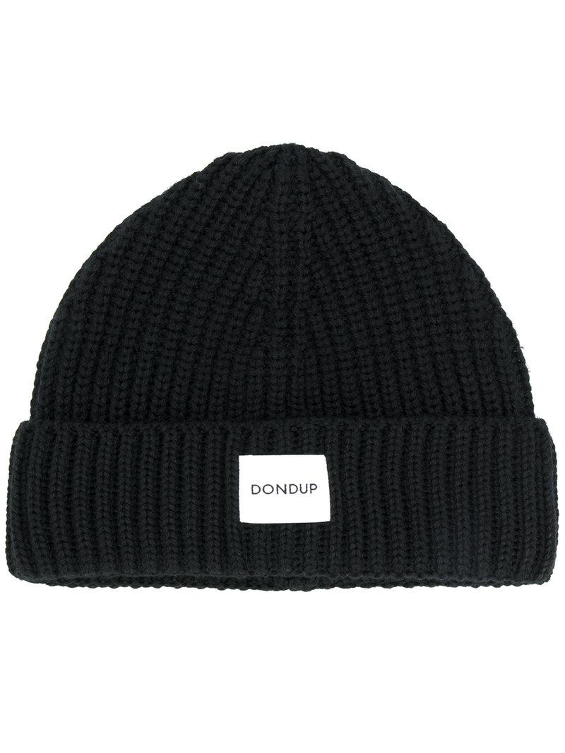 991d7fabc33 Lyst - Dondup Logo Patch Knitted Beanie in Black for Men