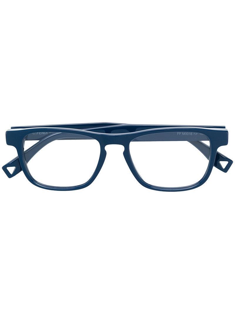 b7ad92ceca Lyst - Fendi Rectangle Frame Glasses in Blue for Men
