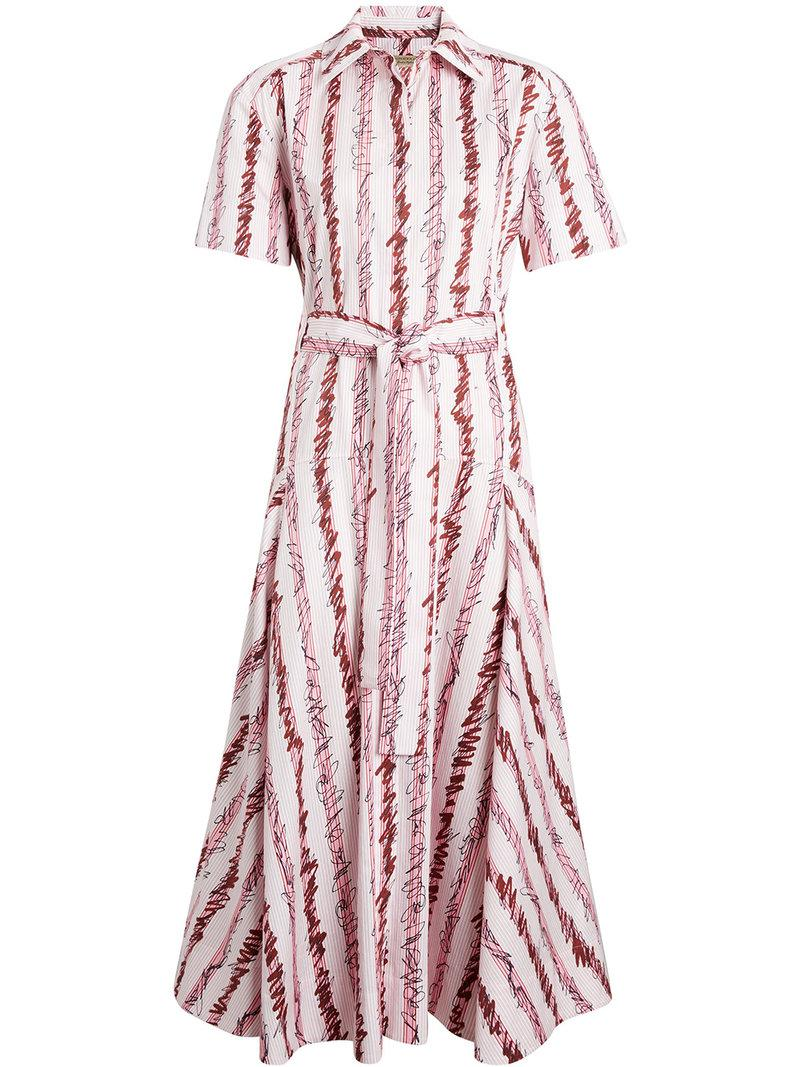 Scribble Stripe Cotton Shirt Dress - Pink & Purple Burberry Many Kinds Of Cheap Online OQ9YxB3