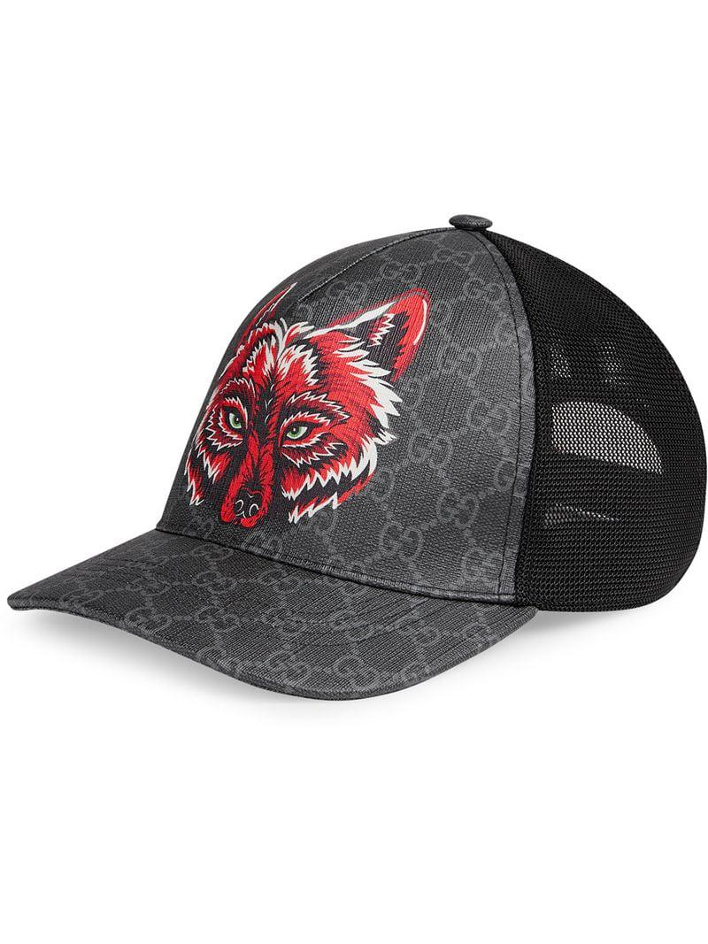 cdac899a835 Lyst - Gucci GG Supreme Baseball Hat With Wolf in Black for Men
