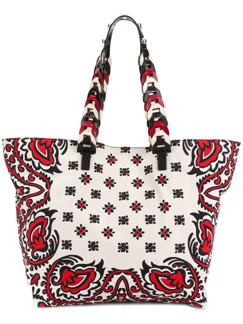 Red Valentino Fringed Bandhana leather backpack 4YBlGrcs