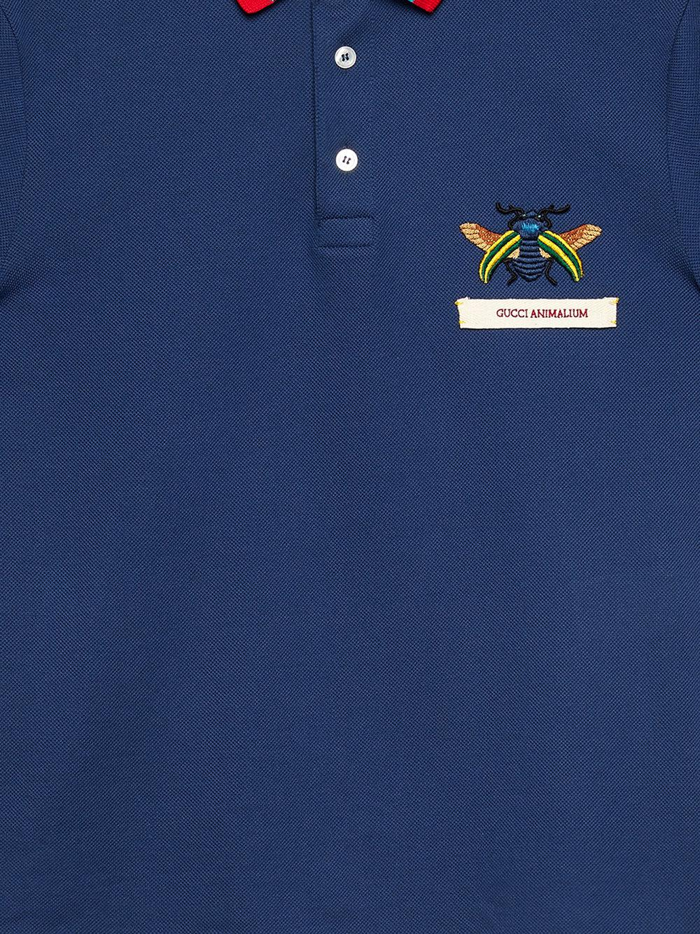 f06278c9a06 Lyst - Gucci Animalium Cotton Polo Shirt in Blue for Men